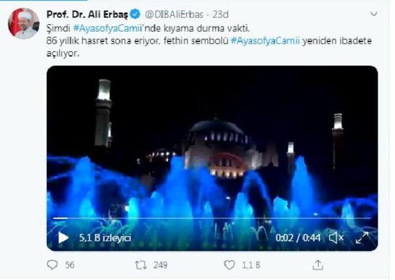 Diyanet İşleri Başkanı Erbaştan Ayasofya paylaşımı
