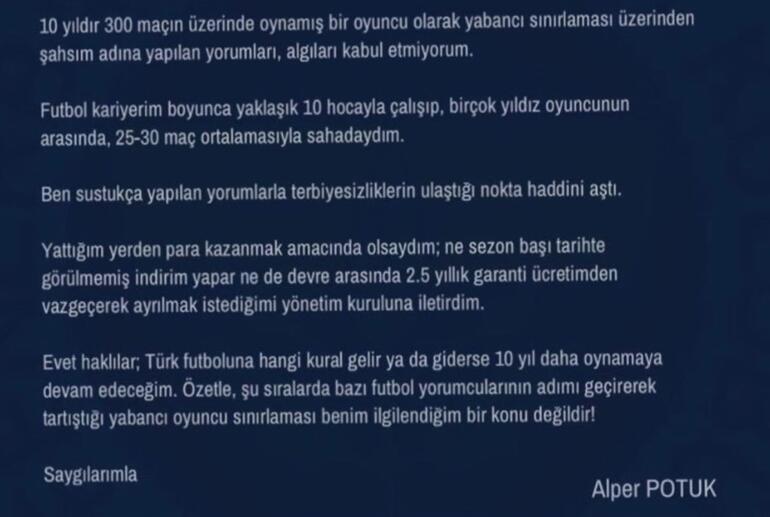 Son Dakika | Fenerbahçeli Alper Potuktan tepki Kabul etmiyorum