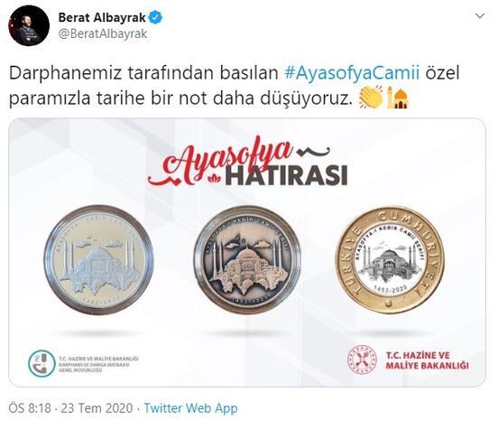 Son dakika haberi: Bakan Albayrak paylaştı İşte Ayasofya Camii için basılan özel para…