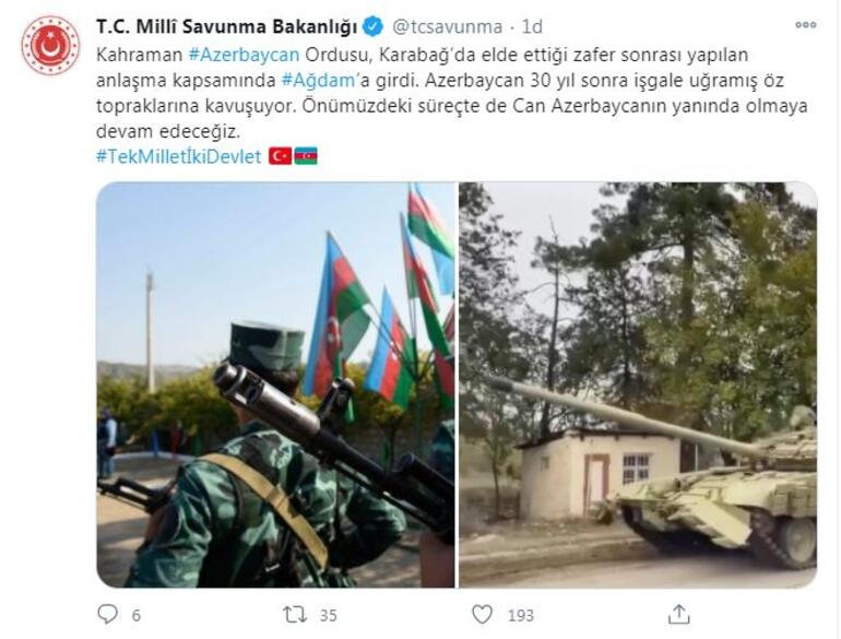 MSB: Azerbaycan ordusu Ağdama girdi