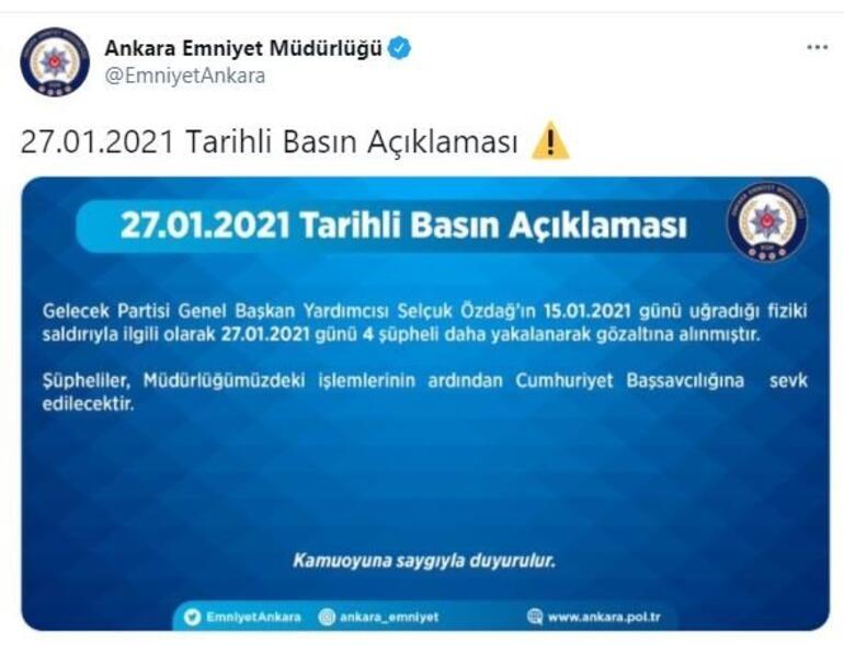 Gelecek Partisi Genel Başkan Yardımcısı Selçuk Özdağa saldırıda 4 şüpheli daha gözaltında