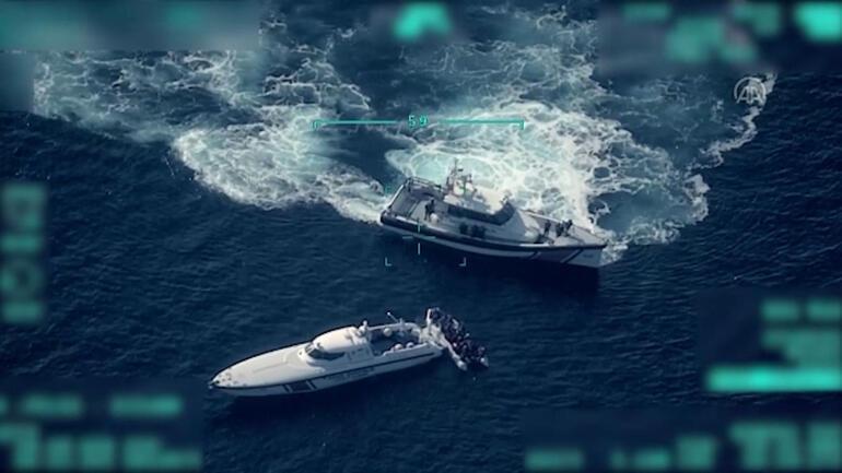 İHA ile saniye saniye görüntülendi: Yunan gemisine Türk Sahil Güvenlik'ten müdahale