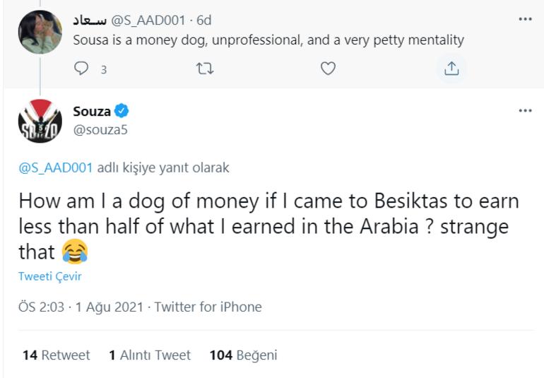 Josef de Souzadan Paranın köpeği diyen takipçisine flaş yanıt: Yarısını kazanmak için Beşiktaşa geldiysem...